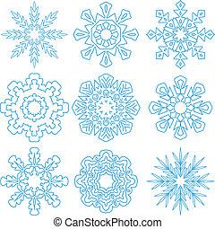 Beautiful Snowflakes Set for Christmas Winter Design