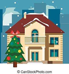 Beautiful snowy Christmas home and tree