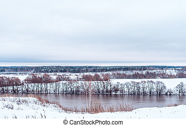 Beautiful snowy forest, on the background of the river in winter, snow-capped hills.