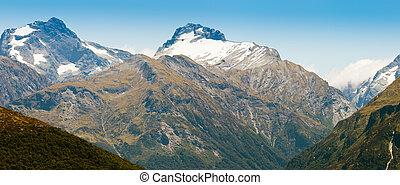 Beautiful snowy mountain peaks South Island of NZ