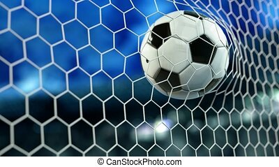Beautiful Soccer Ball flies into Goal Net in Slow Motion....