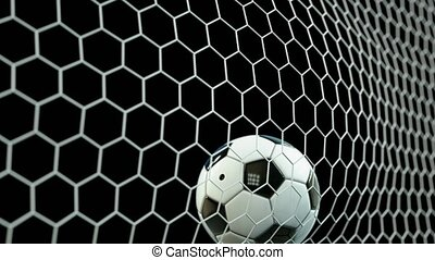 Beautiful Soccer Ball flies into Goal Net in Slow Motion. Football 3d animation 4k