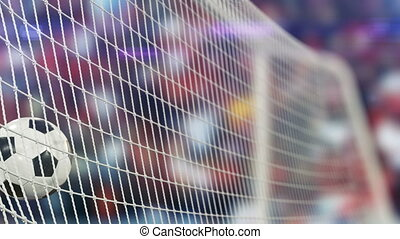 Beautiful Soccer Ball flies into Goal Net in Slow Motion. Football 3d animation of the Goal Moment.