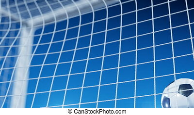 Beautiful Soccer Ball flies into Goal Net in Slow Motion under Blue Evening Sky. Football 3d animation of the Goal Moment.