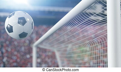 Beautiful Soccer Ball Hits the Bar and Bounces Back off in Slow Motion. Football 3d animation Concept. 4