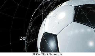 Beautiful Soccer Ball Rotating Close-up in Slow Motion on Black with Growing Network of Scores. Looped Football 3d Animation of Turning Ball. 4k Ultra HD 3840x2160.