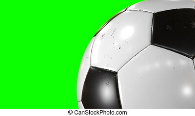 Beautiful Soccer Ball Rotating Close-up in Slow Motion on Green Screen. Looped Football 3d Animation of Turning Ball. 4k Ultra HD 3840x2160.