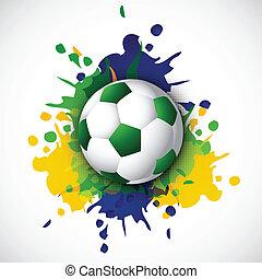 Beautiful Soccer ball with brazil colors splash grunge backgroun