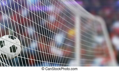 Beautiful Soccer Slow Motion Concept of the Ball flying into Goal Net. Fans taking pictures with flashes. 3d animation Close up Sport Concept.