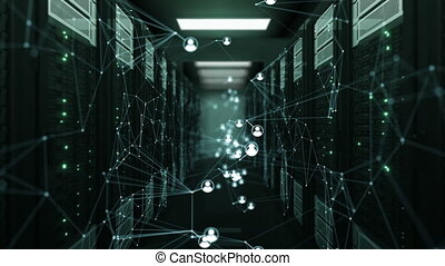 Beautiful Social Network Human Icons Moving in Abstract Server Room with DOF Blur. Looped 3d Animation of Server Racks. Digital Media and Futuristic Technology Concept. 4k Ultra HD 3840x2160.