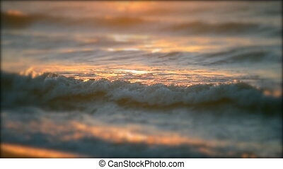 Beautiful soft focus on surface of sea ocean wave with white...