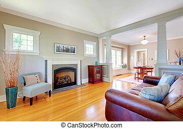 Beautiful soft natural living room interior design.