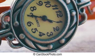 Beautiful sophisticated vintage women's watch macro. Second hand in a hurry. Extreme Close Up of Beautiful Woman's Watch. Second Hand Dial