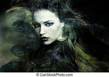 sorceress - beautiful sorceress woman double exposure...