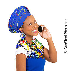south african woman talking on cell phone