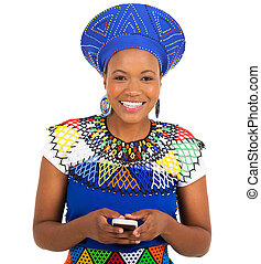 south african zulu woman using smart phone