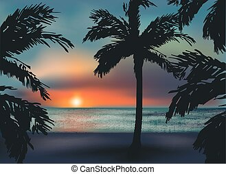 Beautiful southern sunset sea, vector illustration