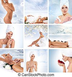 Beautiful spa collage made of nine elements