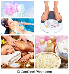 Beautiful Spa massage collage.