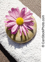 Beautiful spa wet flower stone and towel