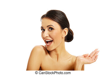 Beautiful spa woman laughing to the camera