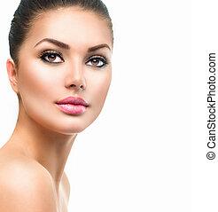 Beautiful Spa Woman Smiling. Perfect Fresh Skin