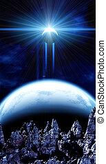 Beautiful space scene - A beautiful space scene with planets...