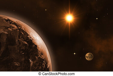 Space landscape (earth, sun, moon). Sunrise. 3D image.