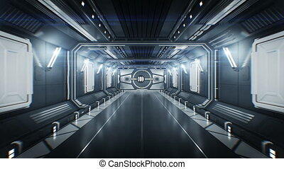 Beautiful Spaceship Tunnel with Opening Metal Gates and Flight Out Through it to White Light. Abstract Futuristic 3d Animation with Alpha Channel. 4k Ultra HD 3840x2160