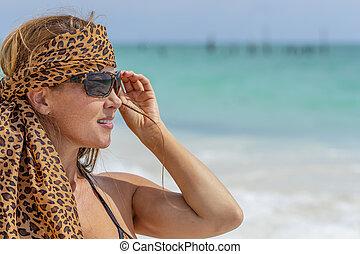 Beautiful Spanish Model Enjoying A Day At The Beach