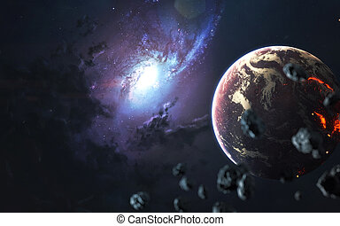 Beautiful spiral galaxy, awesome science fiction wallpaper, cosmic landscape. Elements of this image furnished by NASA