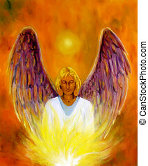 Beautiful spiritual Angel. Painting and graphic effect. -...