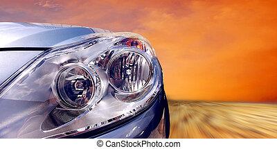 Beautiful sport car on speed - Headlight of car