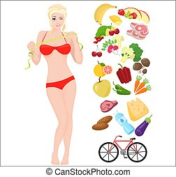 Beautiful sport Thin and Health female woman. Lifestyle infographic vector illustration with icons.