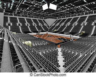 Beautiful sports arena for basketball with floodlights and...