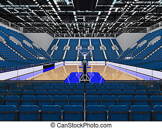 Beautiful sports arena for basketball with gray blue seats...
