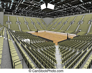 Beautiful sports arena for basketball with gray green seats...