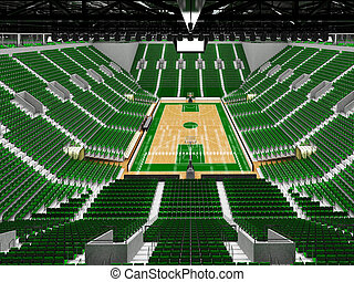 Beautiful sports arena for basketball with green seats and...