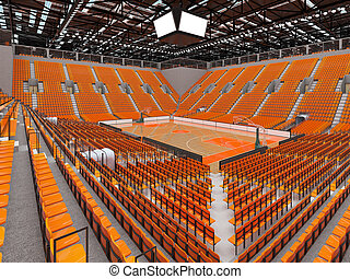 Beautiful sports arena for basketball with orange seats and...