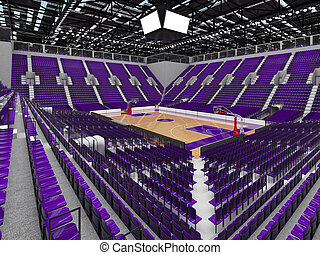 Beautiful sports arena for basketball with purple seats and...