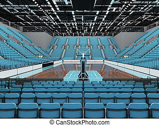 Beautiful sports arena for basketball with sky blue seats...