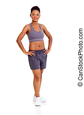 sporty african woman on white background