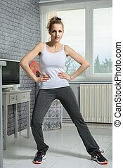 sporty fit fitness woman at home
