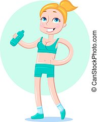 Beautiful sporty girl drinking water after workout or run.