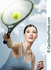 sporty girl - Beautiful sporty girl playing tennis very...