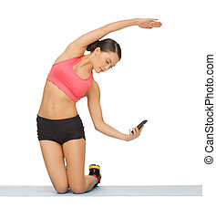 beautiful sporty woman doing exercise - beautiful sporty...