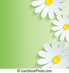 Beautiful spring abstract background, 3d flower chamomile