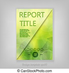Beautiful spring abstract green natural light Report cover template with low poly background. Business brochure document layout for company presentations.