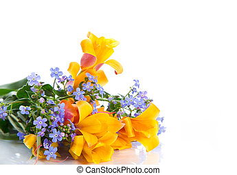 beautiful spring bouquet of flowers on a white background