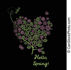 Beautiful spring card with blossoming decorative lacy tree with pink cherry-tree flowers in heart shape